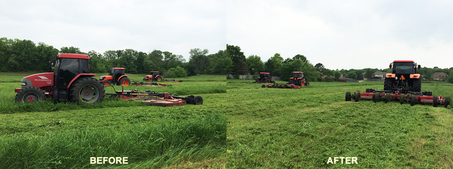 3 tractors mowing mowing a field, before and after